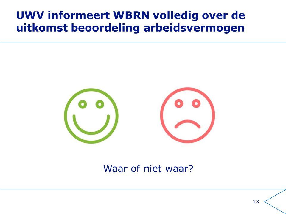 UWV informeert WBRN volledig over de uitkomst beoordeling arbeidsvermogen