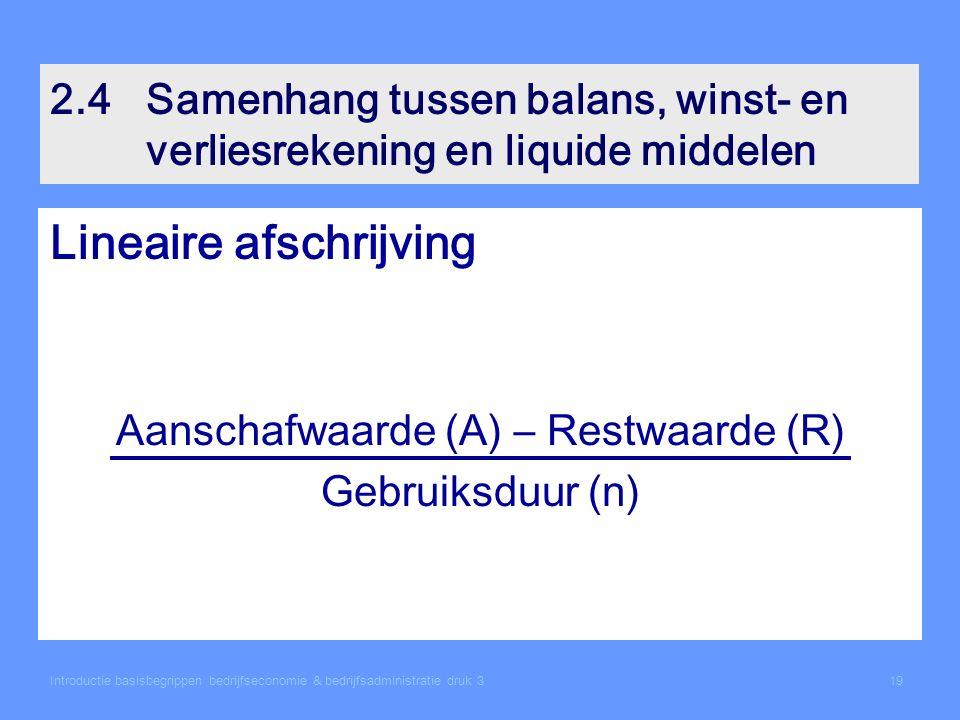 Aanschafwaarde (A) – Restwaarde (R)