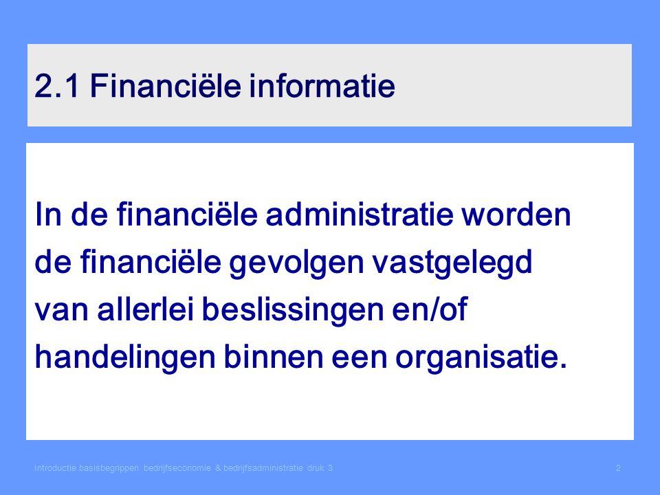 2.1 Financiële informatie