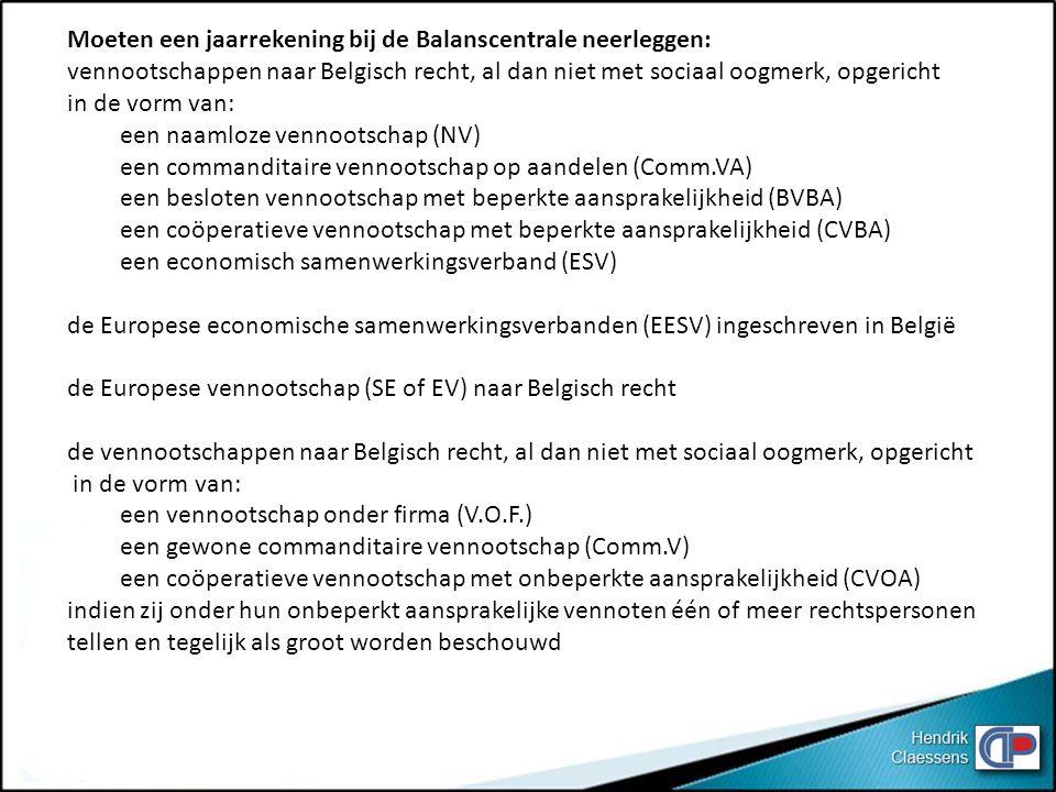 Moeten een jaarrekening bij de Balanscentrale neerleggen:
