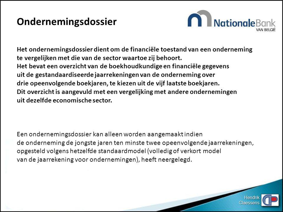Ondernemingsdossier Het ondernemingsdossier dient om de financiële toestand van een onderneming.