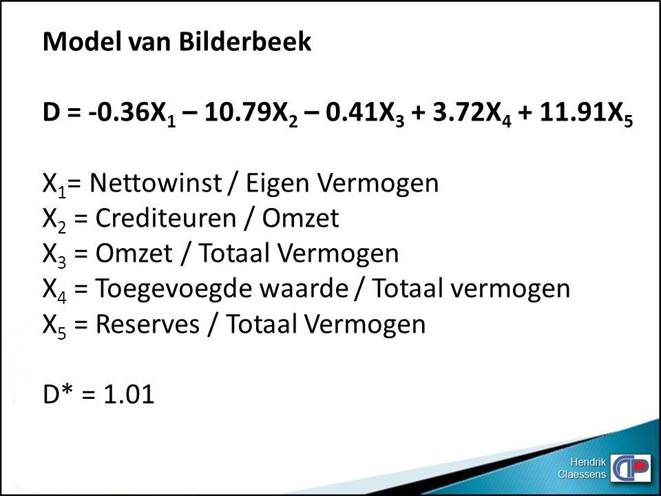 Model van Bilderbeek D = -0.36X1 – 10.79X2 – 0.41X3 + 3.72X4 + 11.91X5. X1= Nettowinst / Eigen Vermogen.