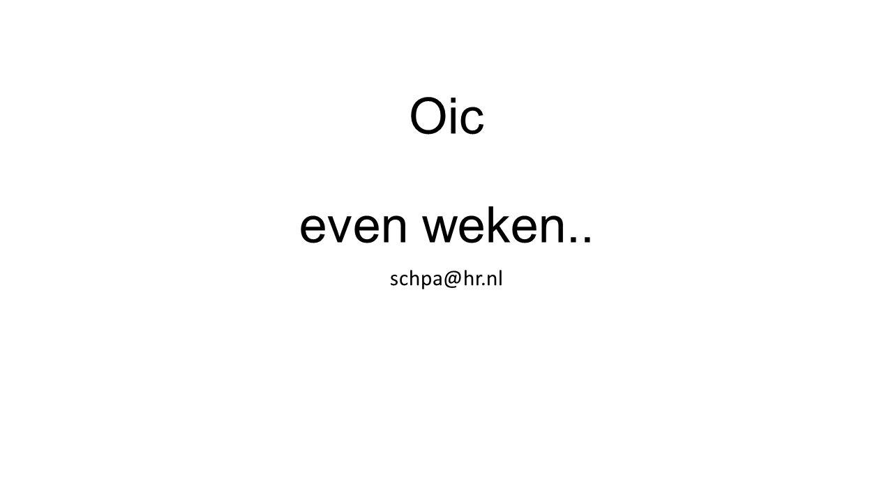 Oic even weken.. schpa@hr.nl