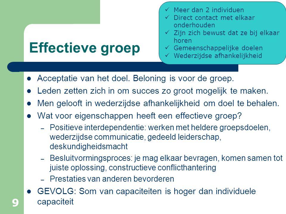 Effectieve groep Acceptatie van het doel. Beloning is voor de groep.