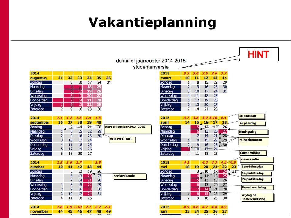Vakantieplanning HINT Herfstvakantie Kerstvakantie Voorjaarsvakantie