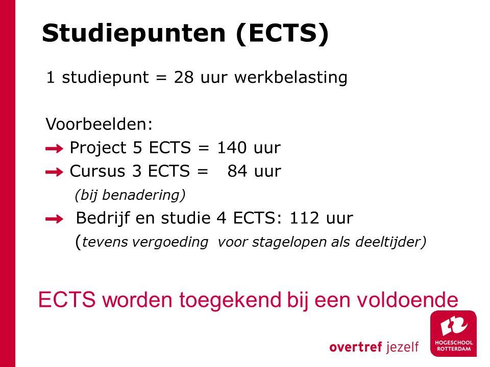 Studiepunten (ECTS) ECTS worden toegekend bij een voldoende