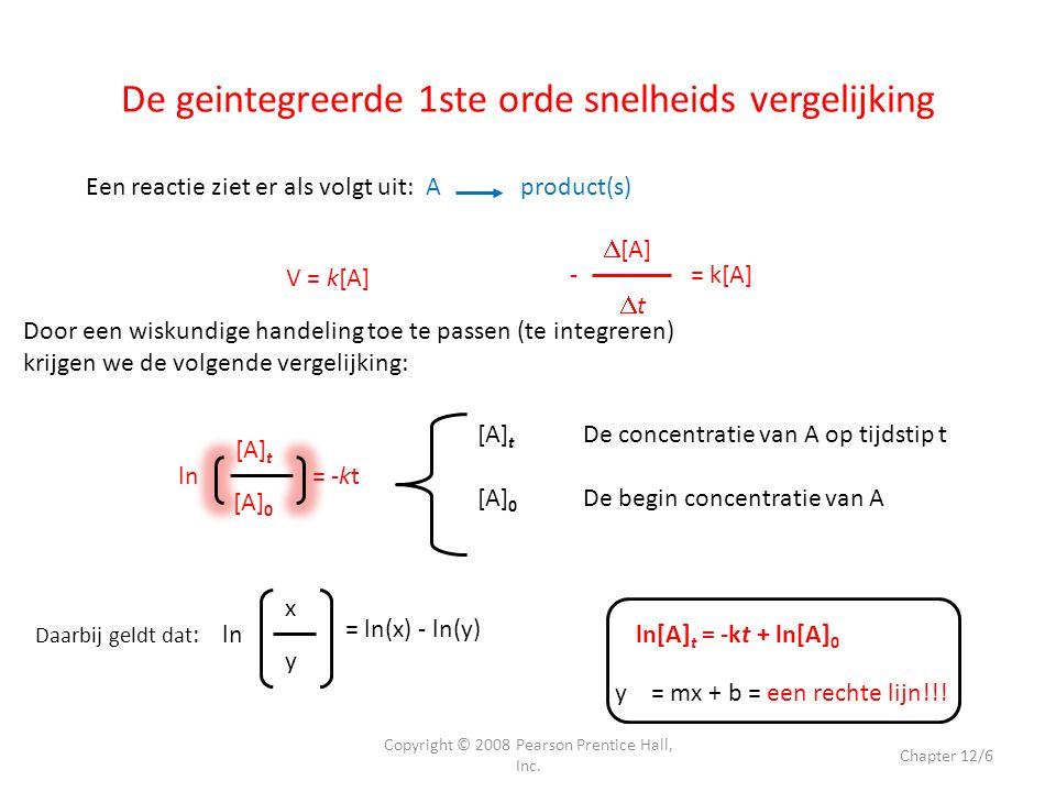 De geintegreerde 1ste orde snelheids vergelijking