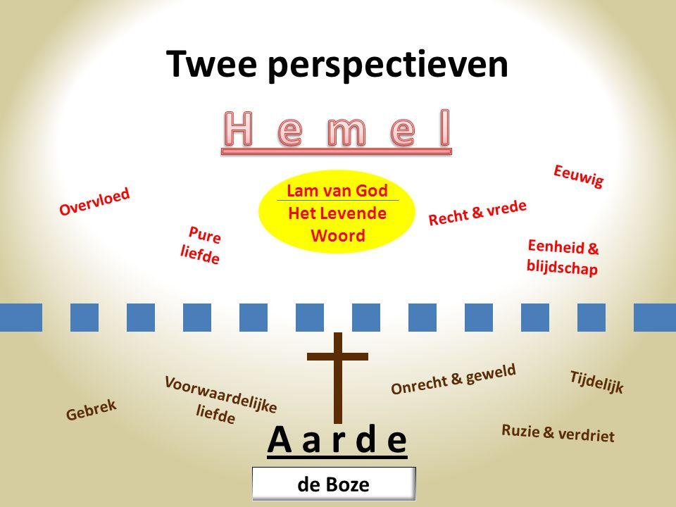 H e m e l Twee perspectieven A a r d e de Boze Lam van God