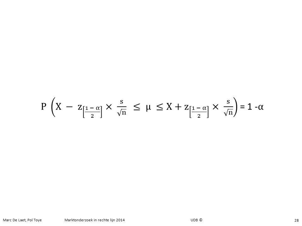 P X − z 1 − α 2 × s n ≤ μ ≤X+ z 1 − α 2 × s n = 1 -α