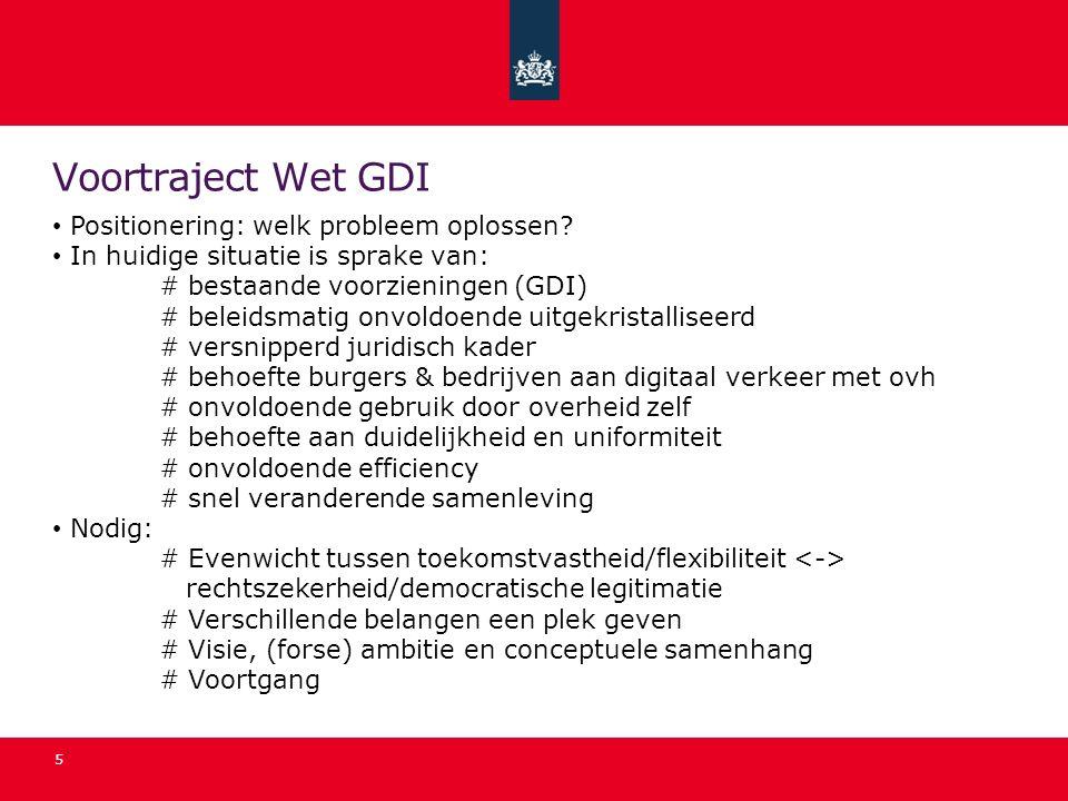 Voortraject Wet GDI Positionering: welk probleem oplossen