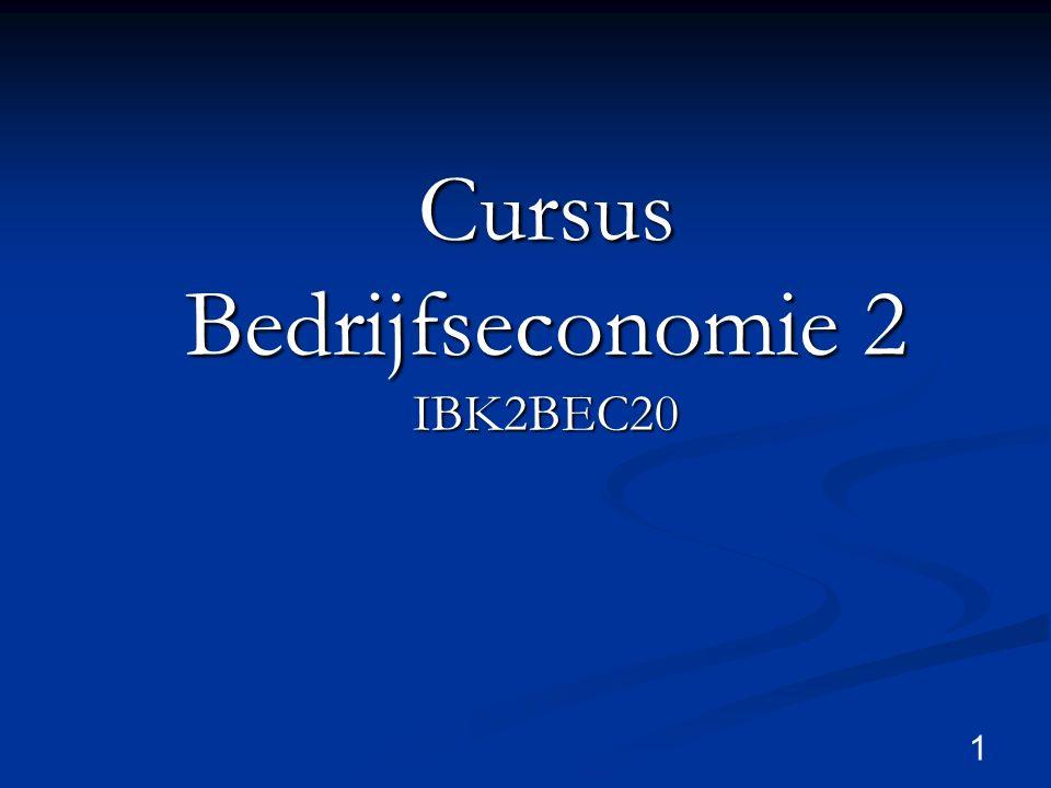 Cursus Bedrijfseconomie 2 IBK2BEC20