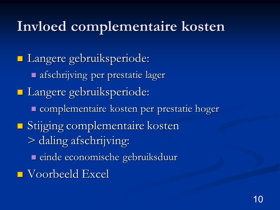 Invloed complementaire kosten