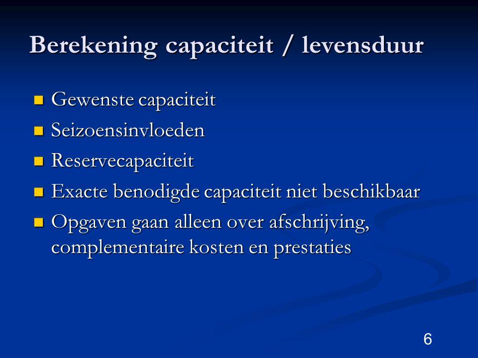 Berekening capaciteit / levensduur