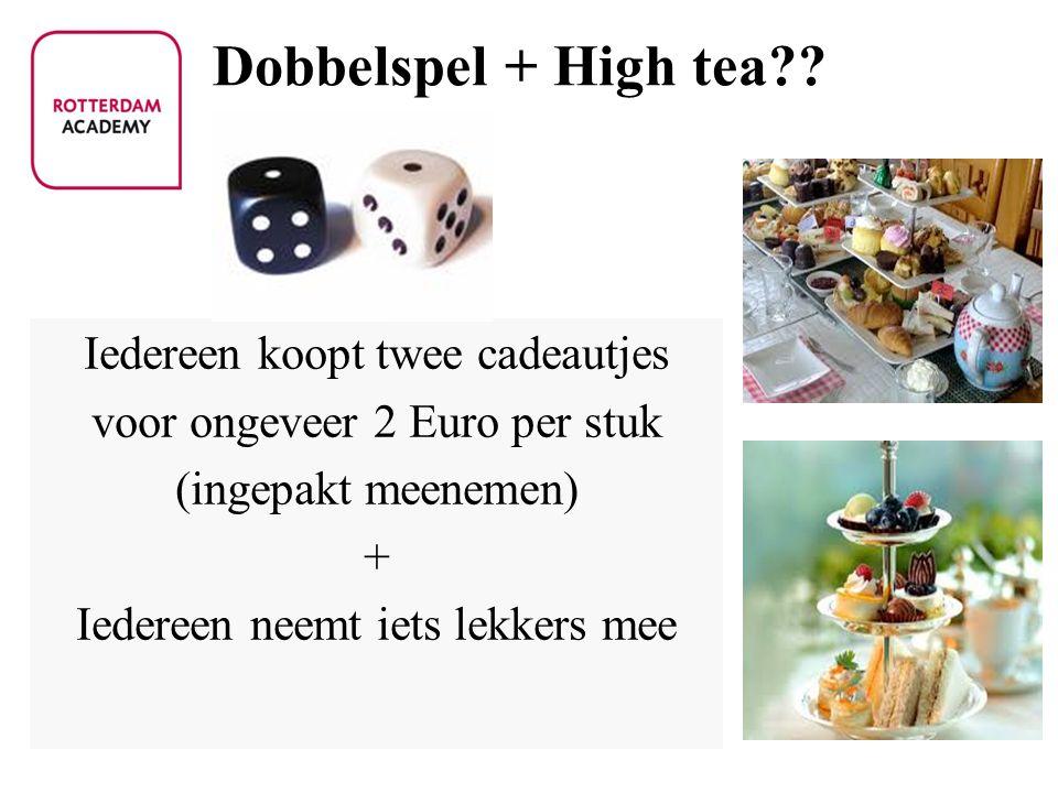 Dobbelspel + High tea Iedereen koopt twee cadeautjes