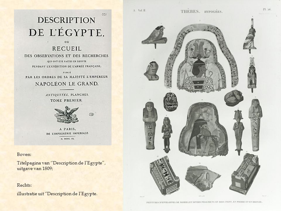 Boven: Titelpagina van Description de l'Egypte , uitgave van 1809; Rechts: illustratie uit Description de l'Egypte.