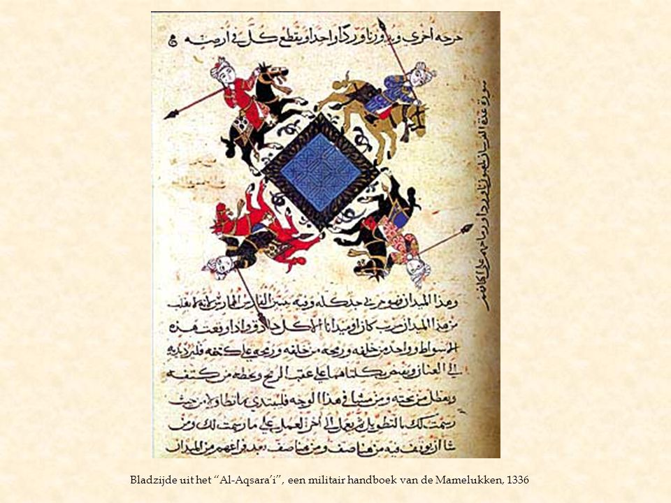 Bladzijde uit het Al-Aqsara'i , een militair handboek van de Mamelukken, 1336