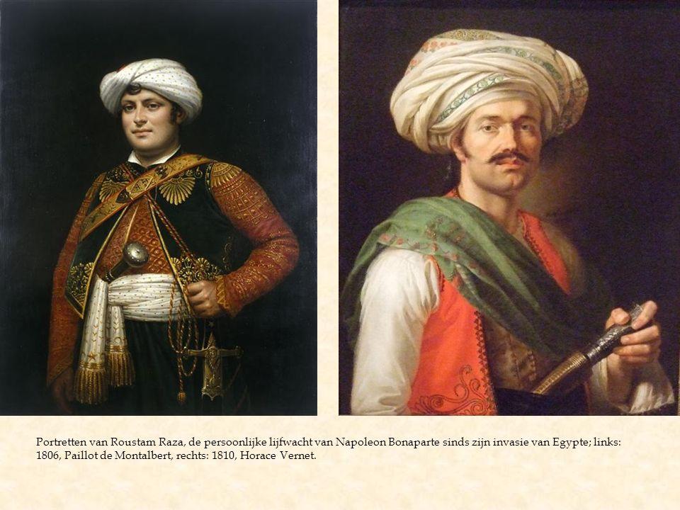 Portretten van Roustam Raza, de persoonlijke lijfwacht van Napoleon Bonaparte sinds zijn invasie van Egypte; links: 1806, Paillot de Montalbert, rechts: 1810, Horace Vernet.