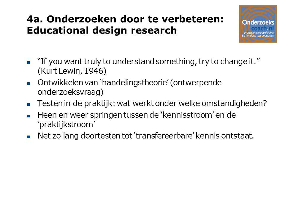 4a. Onderzoeken door te verbeteren: Educational design research