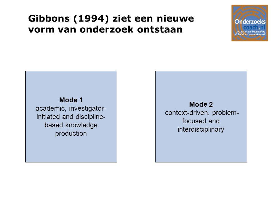 Gibbons (1994) ziet een nieuwe vorm van onderzoek ontstaan
