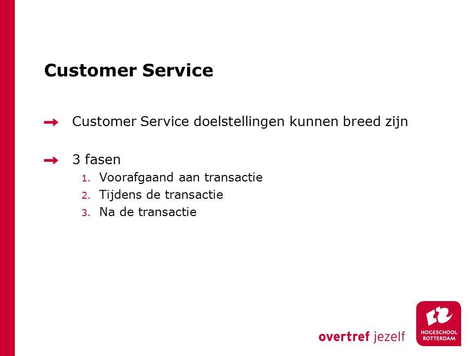 Customer Service Customer Service doelstellingen kunnen breed zijn