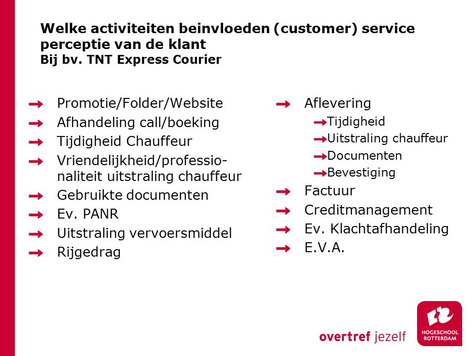 Promotie/Folder/Website Afhandeling call/boeking Tijdigheid Chauffeur