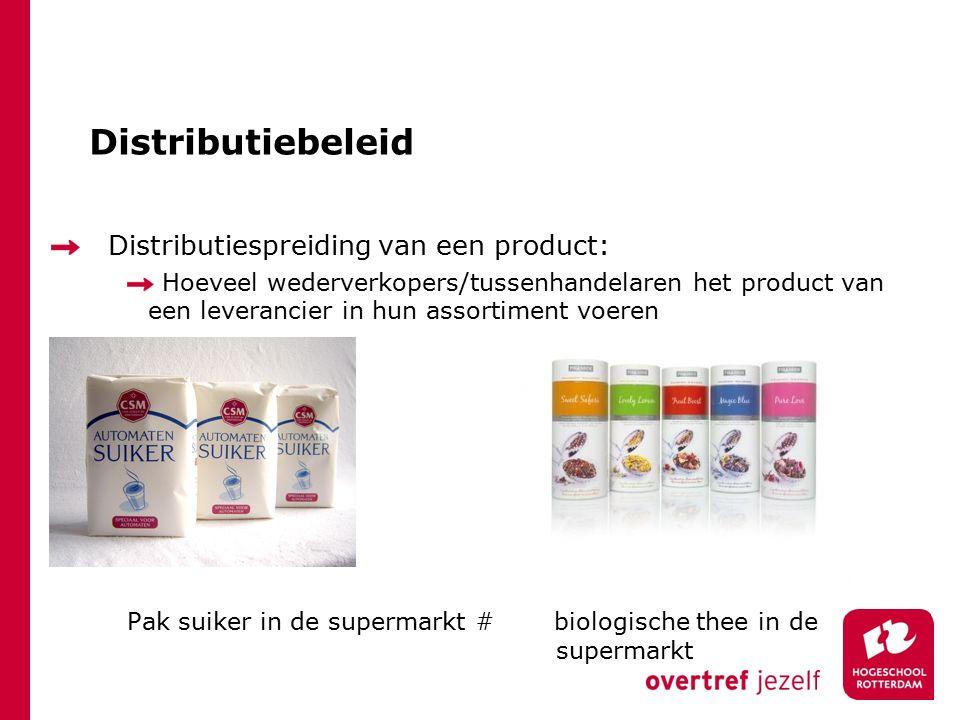Distributiebeleid Distributiespreiding van een product: