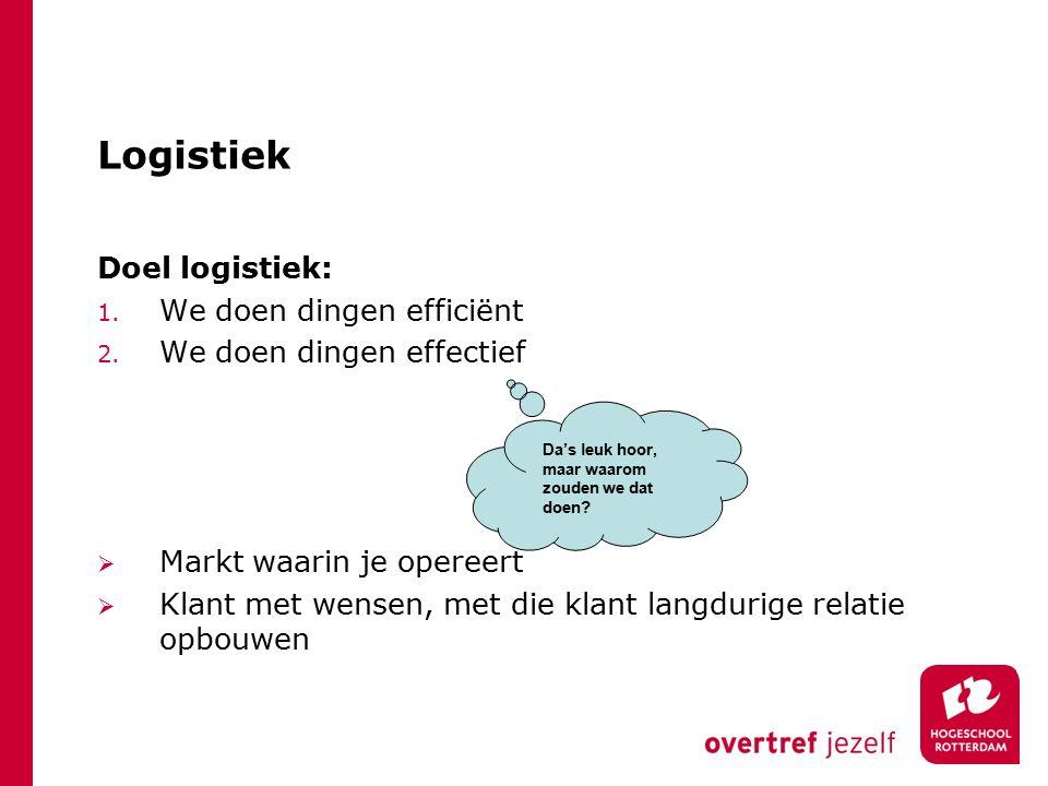 Logistiek Doel logistiek: We doen dingen efficiënt
