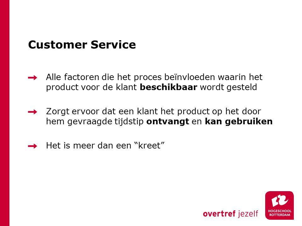 Customer Service Alle factoren die het proces beïnvloeden waarin het product voor de klant beschikbaar wordt gesteld.