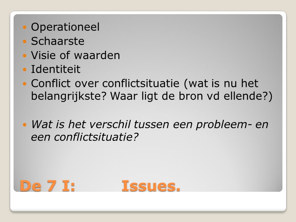 De 7 I: Issues. Operationeel Schaarste Visie of waarden Identiteit