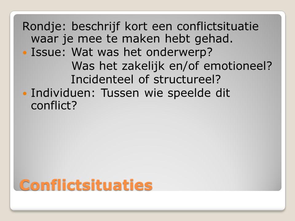 Rondje: beschrijf kort een conflictsituatie waar je mee te maken hebt gehad.