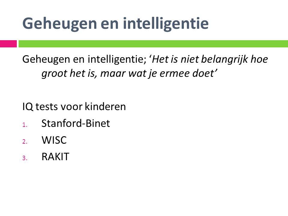 Geheugen en intelligentie