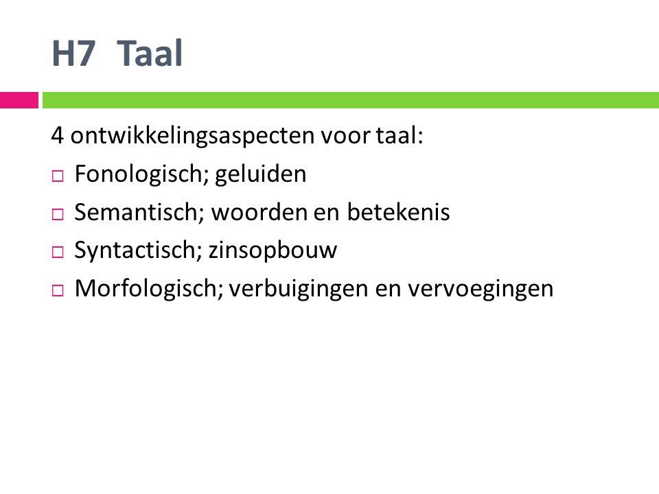 H7 Taal 4 ontwikkelingsaspecten voor taal: Fonologisch; geluiden