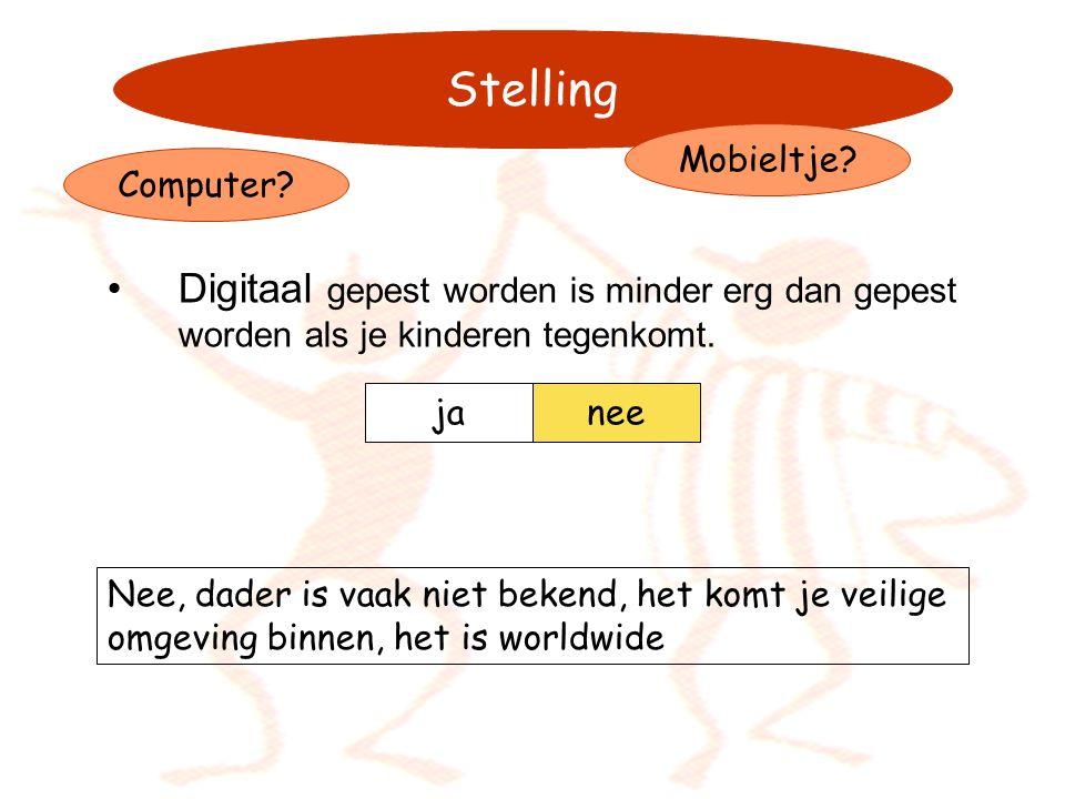 21-11-2006 Stelling. Mobieltje Computer Digitaal gepest worden is minder erg dan gepest worden als je kinderen tegenkomt.