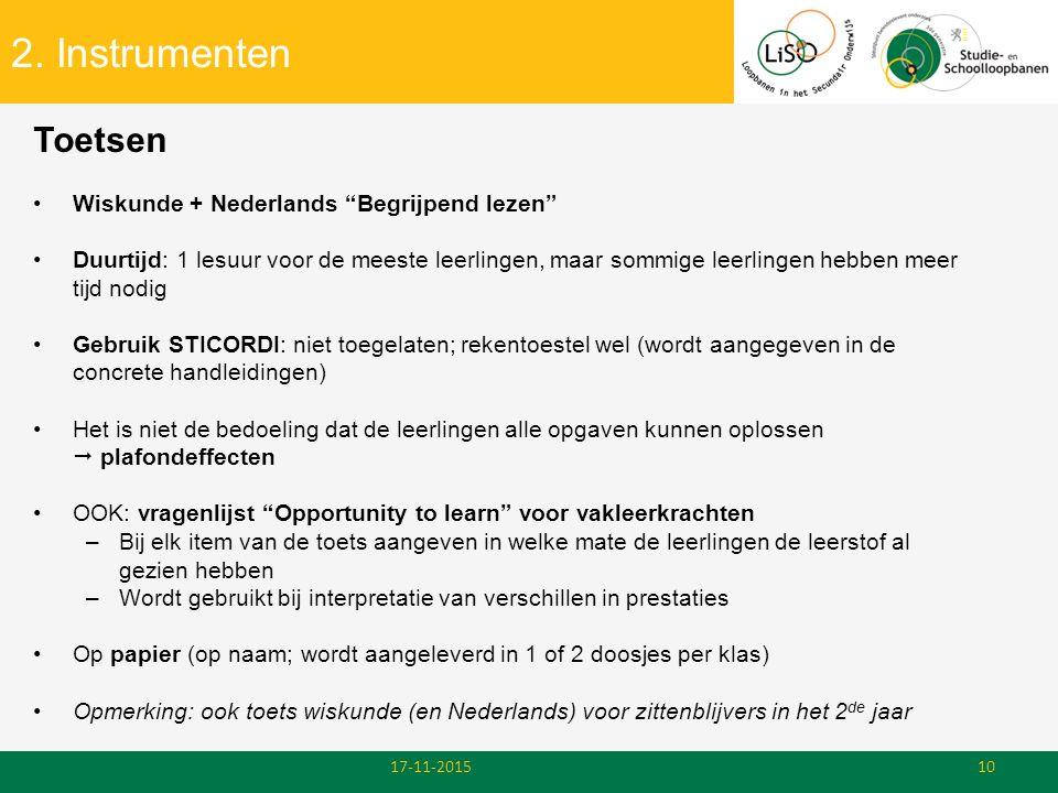 2. Instrumenten Toetsen Wiskunde + Nederlands Begrijpend lezen