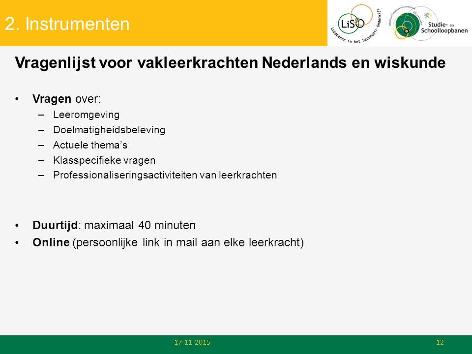 2. Instrumenten Vragenlijst voor vakleerkrachten Nederlands en wiskunde. Vragen over: Leeromgeving.