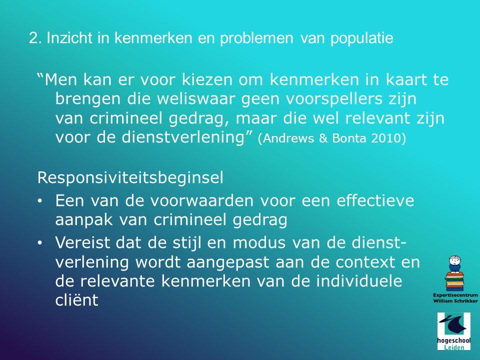 2. Inzicht in kenmerken en problemen van populatie