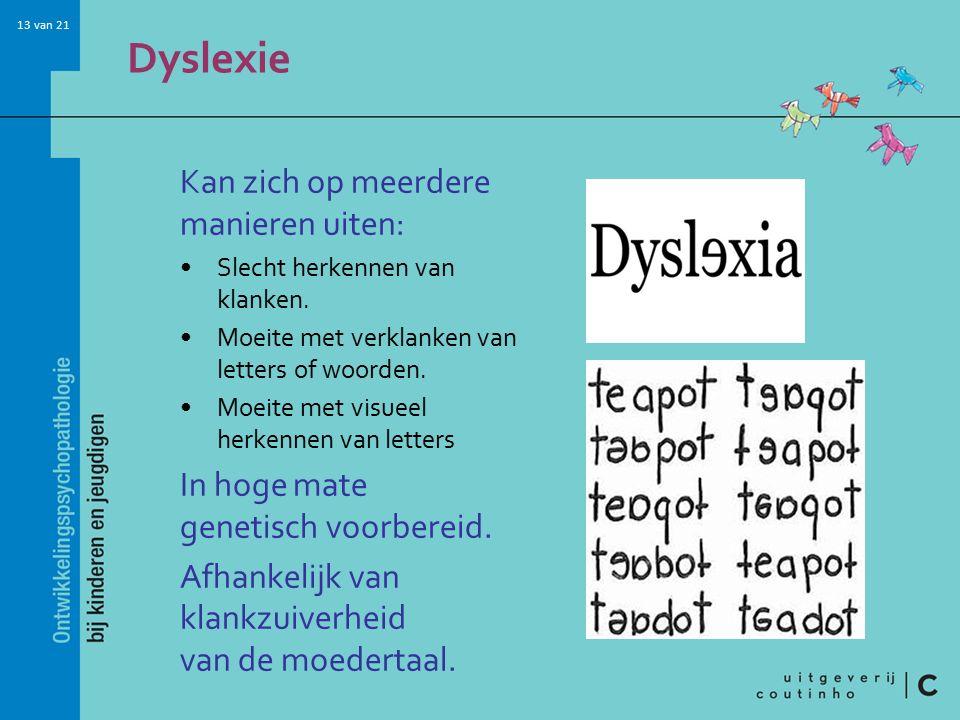 Dyslexie Kan zich op meerdere manieren uiten: