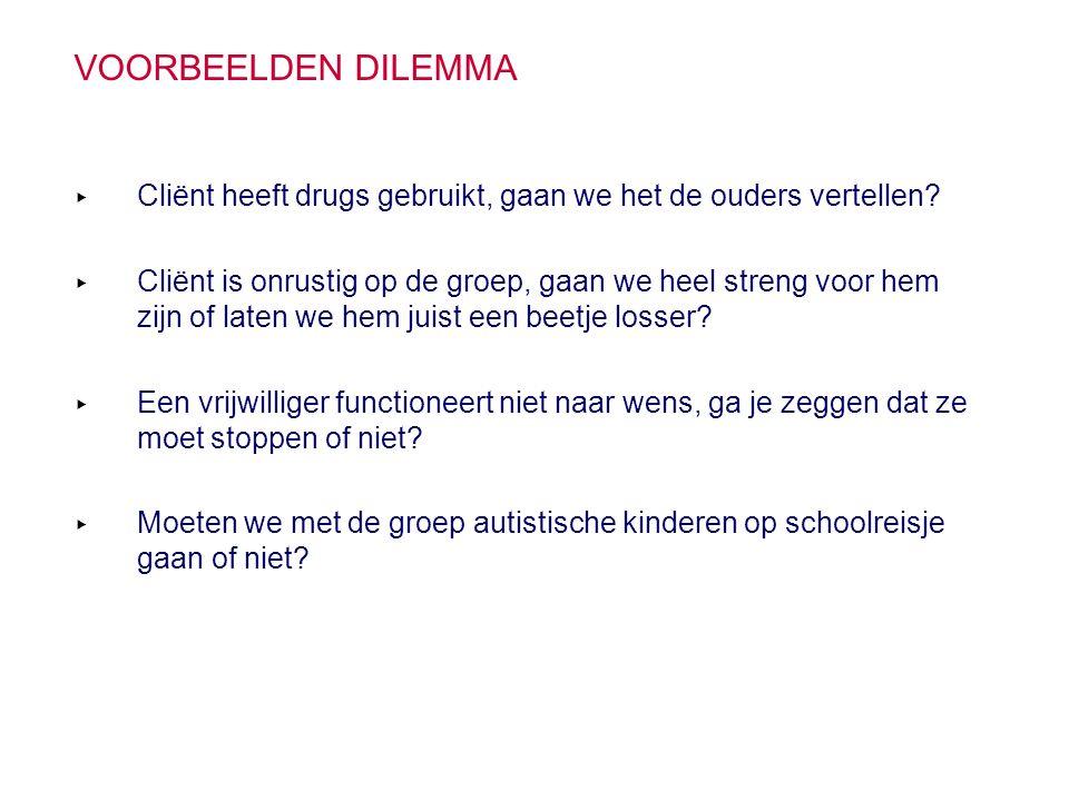 Voorbeelden dilemma Cliënt heeft drugs gebruikt, gaan we het de ouders vertellen