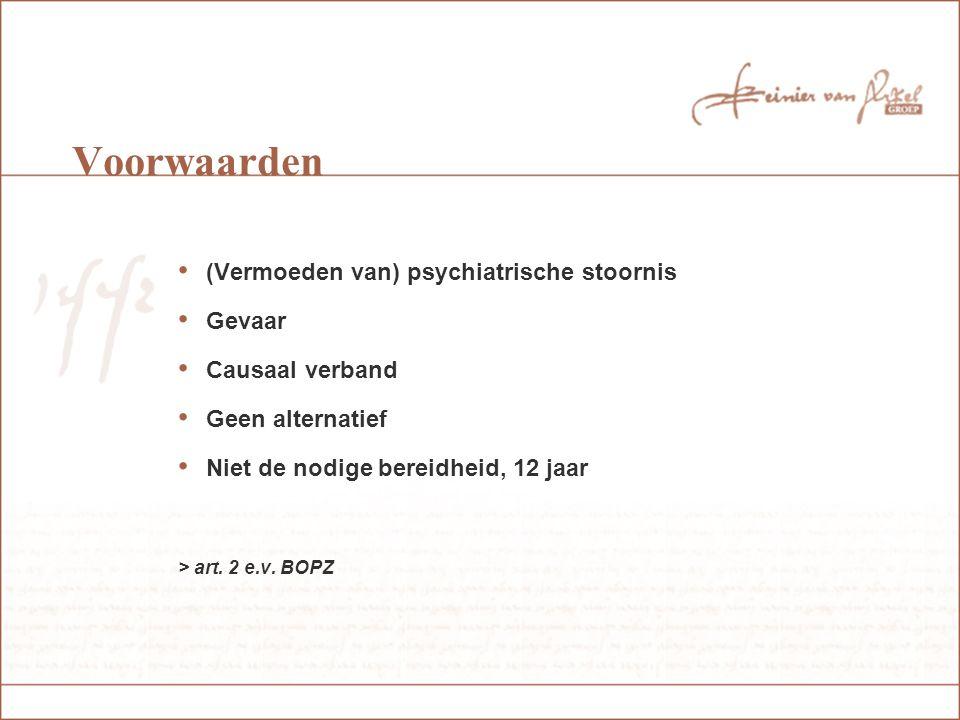 Voorwaarden (Vermoeden van) psychiatrische stoornis Gevaar