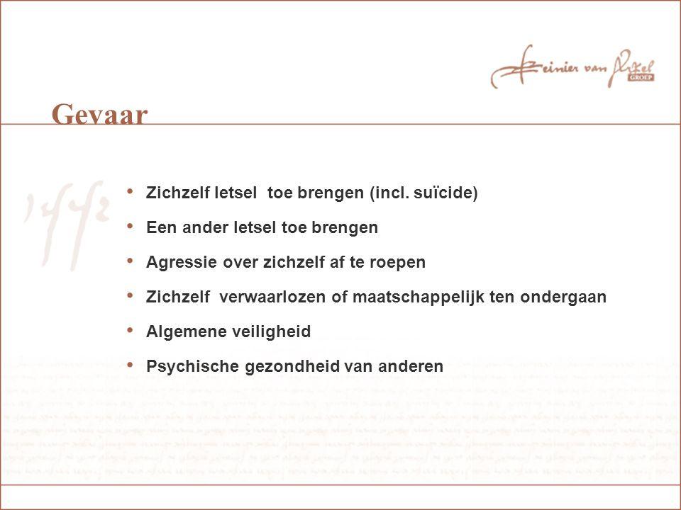 Gevaar Zichzelf letsel toe brengen (incl. suïcide)