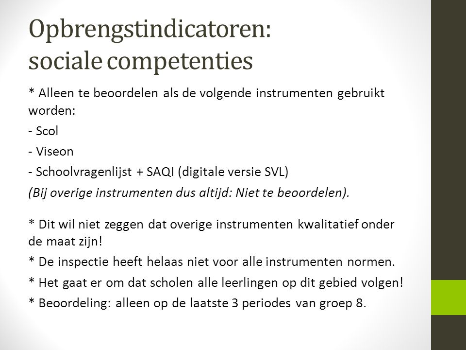 Opbrengstindicatoren: sociale competenties