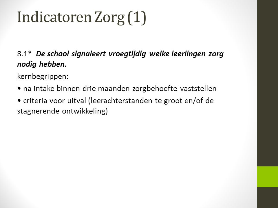 Indicatoren Zorg (1)