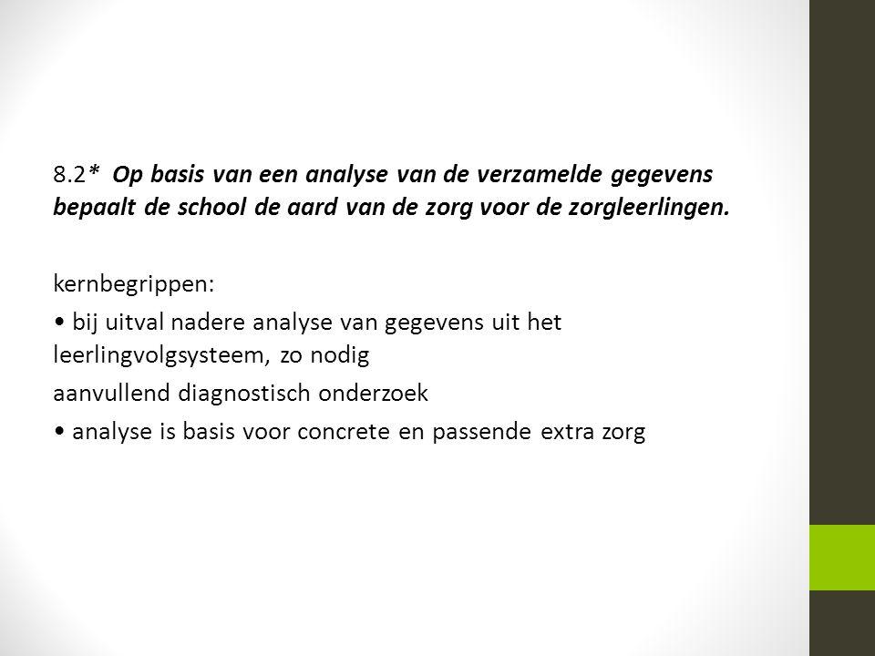 8.2* Op basis van een analyse van de verzamelde gegevens bepaalt de school de aard van de zorg voor de zorgleerlingen.