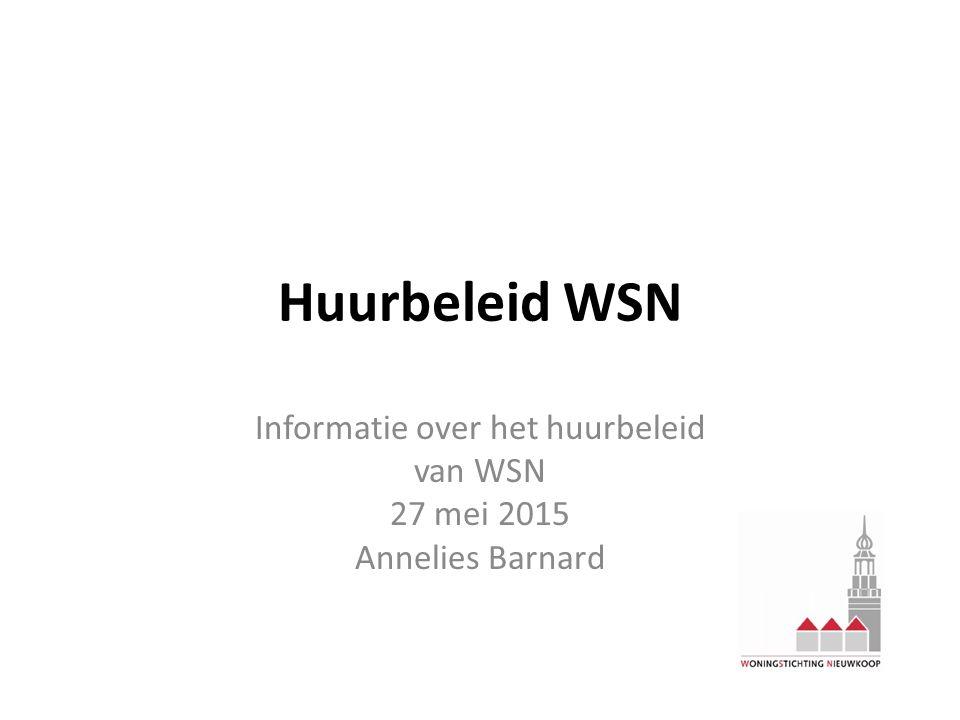 Informatie over het huurbeleid van WSN 27 mei 2015 Annelies Barnard