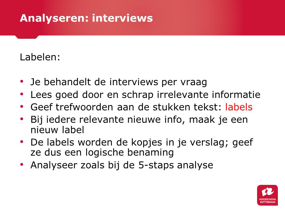 Analyseren: interviews