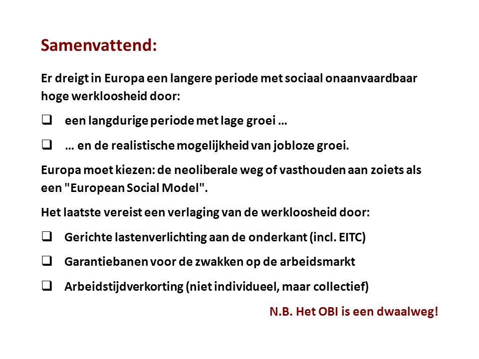 Samenvattend: Er dreigt in Europa een langere periode met sociaal onaanvaardbaar hoge werkloosheid door: