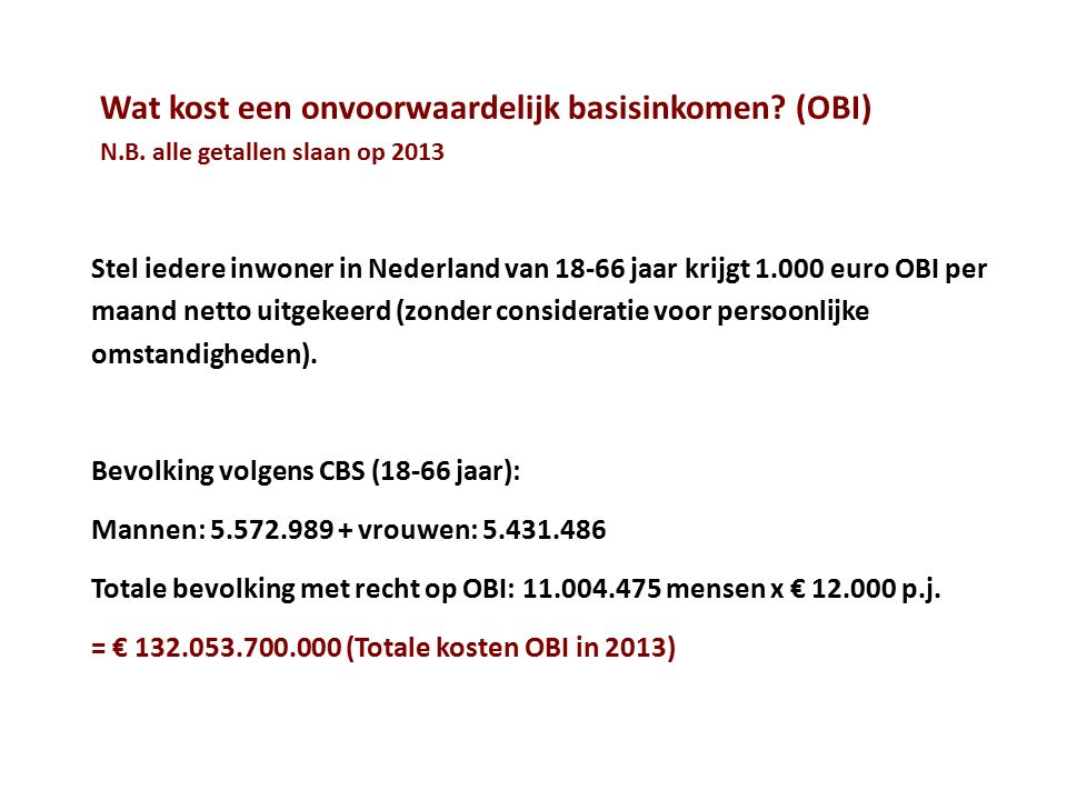 Wat kost een onvoorwaardelijk basisinkomen. (OBI) N. B