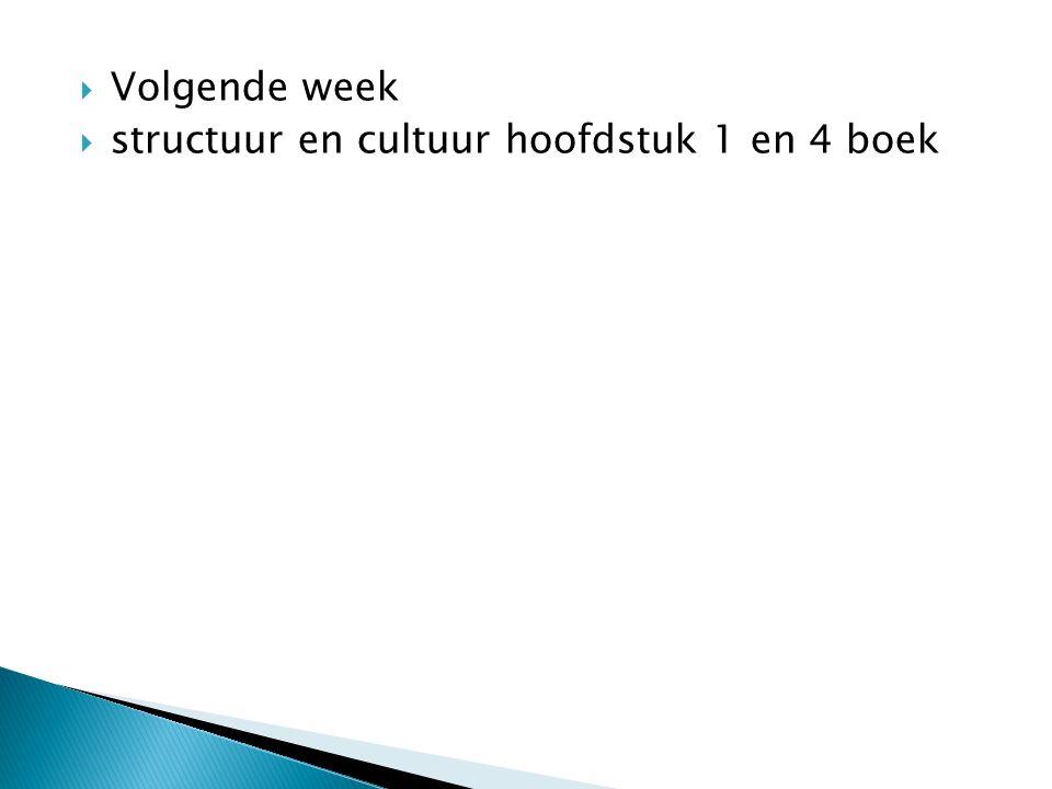Volgende week structuur en cultuur hoofdstuk 1 en 4 boek