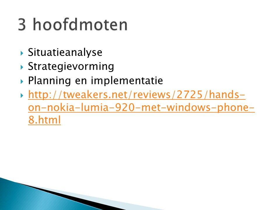 3 hoofdmoten Situatieanalyse Strategievorming