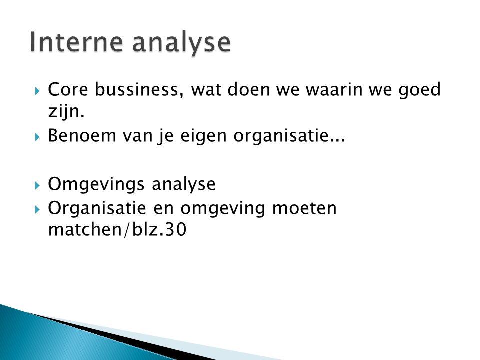 Interne analyse Core bussiness, wat doen we waarin we goed zijn.